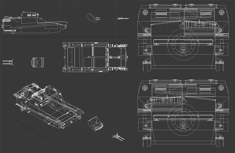Wireframe of the current version of the model.