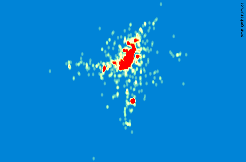 A heatmap of all points.