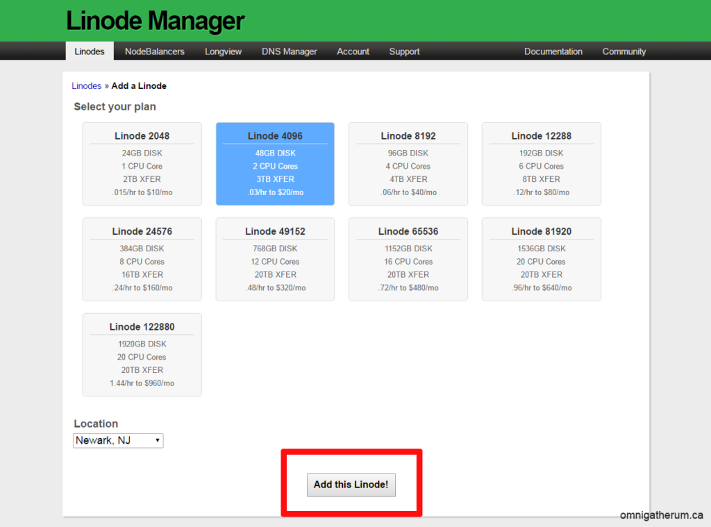 Figure 1: Linode selection page