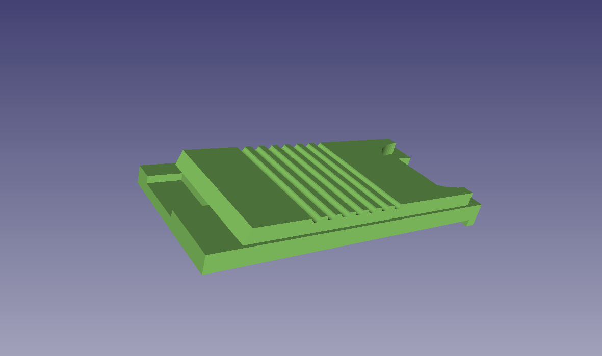 FreeCAD screenshot of battery cover 3D model