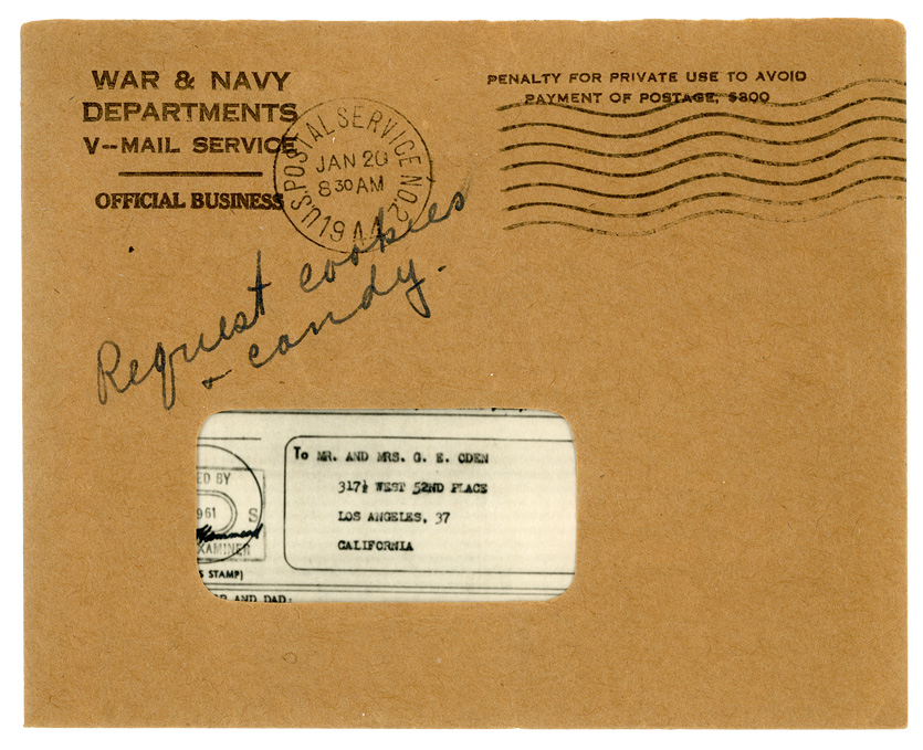 Image of the V-Mail envelope, illustrating the cutout displaying the recipient's address.