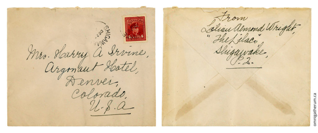The cover for the December 19th, 1944 letter.