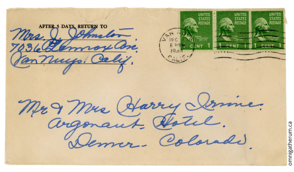 The cover for the December 7th, 1944 letter.