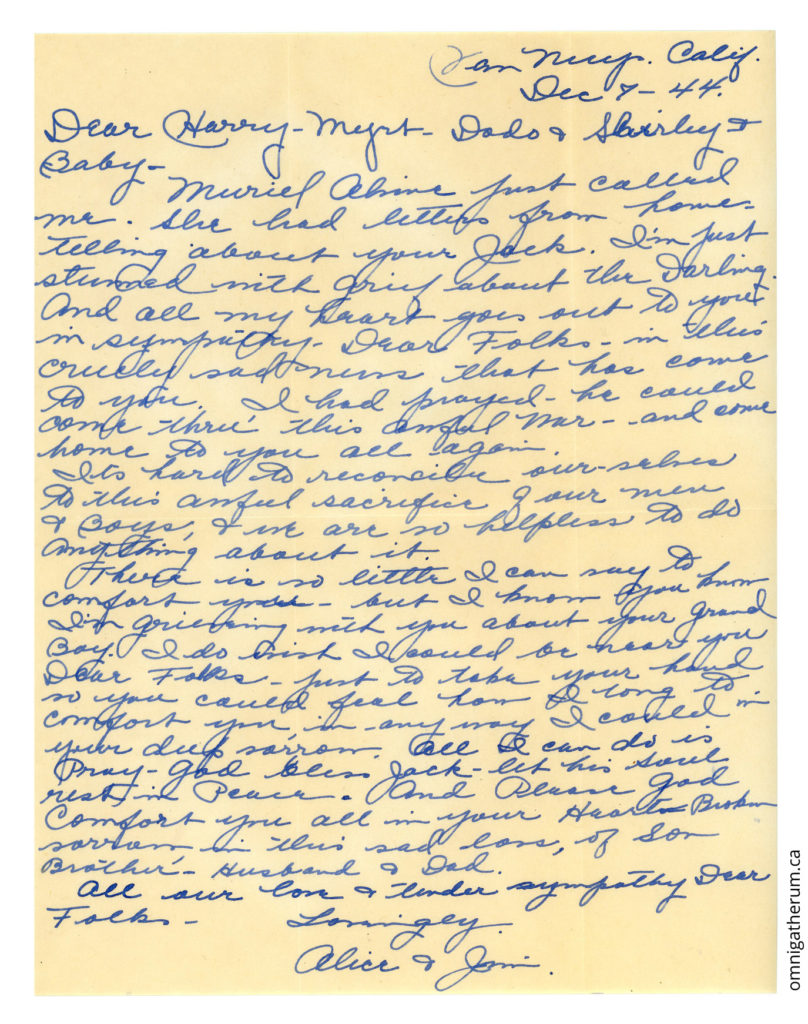 The December 7th, 1944 letter.