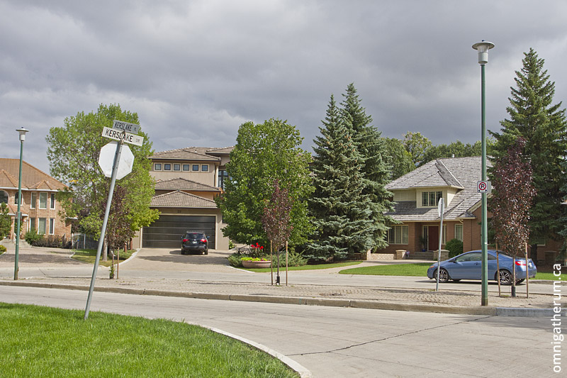 Kerslake Place, the street with the highest mean assessed value in Winnipeg.