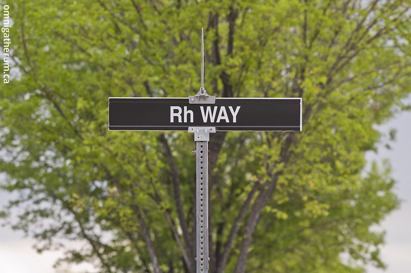 Rh Way, the shortest street name in Winnipeg.