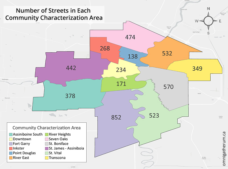 The number of streets in each Community Characterization Area (CCA) - some overlap in counts occurs.