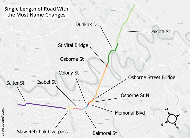 A map of the name changes along the road.