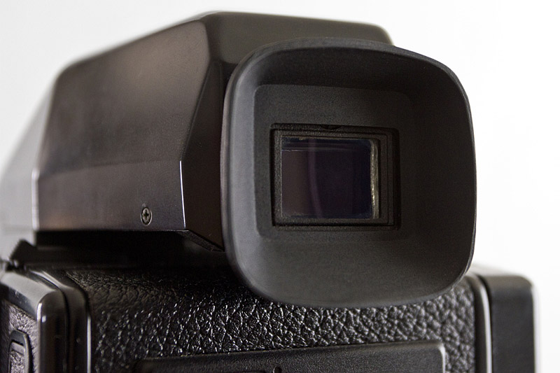 The eyecup in place on a Bronica ETR Prism Finder E.