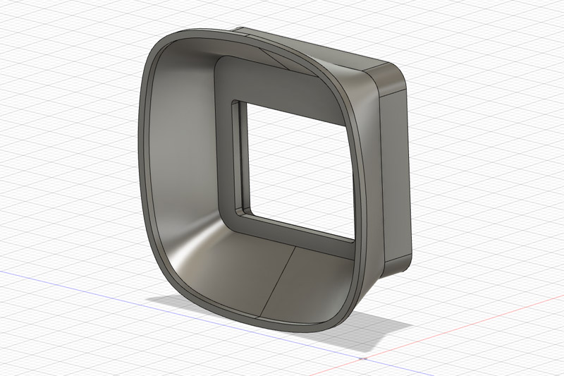 Oblique view of the eyecup in Autodesk Fusion 360.